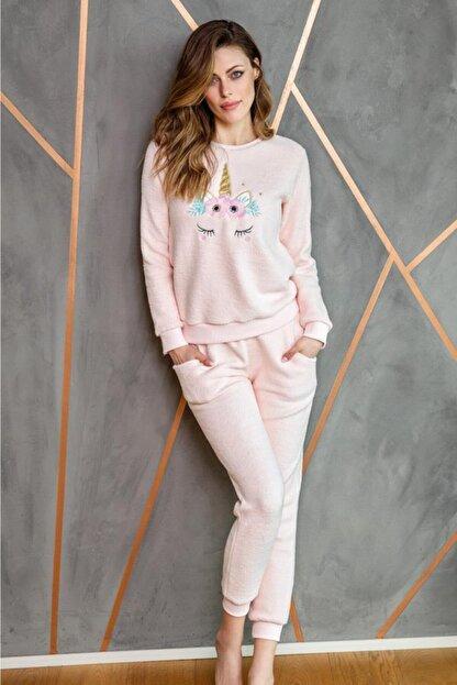 Anıl 9540 Kadın Pijama Polar Unicornlu Sweatshirt Pantolon Tk.