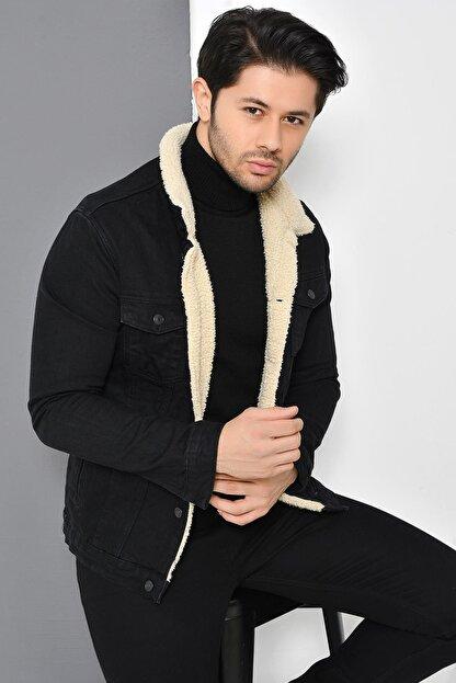 Tena Moda Erkek Siyah Kürklü Kot Mont Ceket