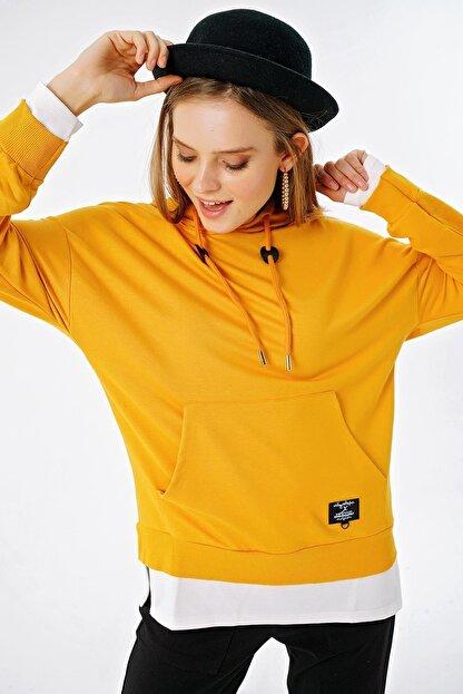 ŞİMAL Kadın Çift Görünümlü Cepli Kapüşonlu Sweatshirt