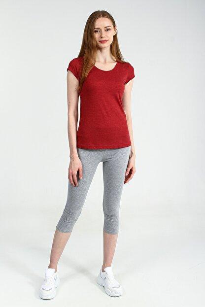 Collezione Kırmızı Yuvarlak Kesim Kısa Kollu Basic Kadın Tshirt