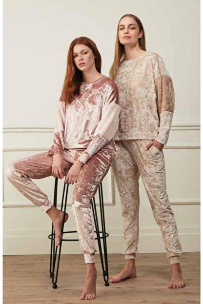 Feyza 3504 Kadın Kadife Pijama Takımı Pembe