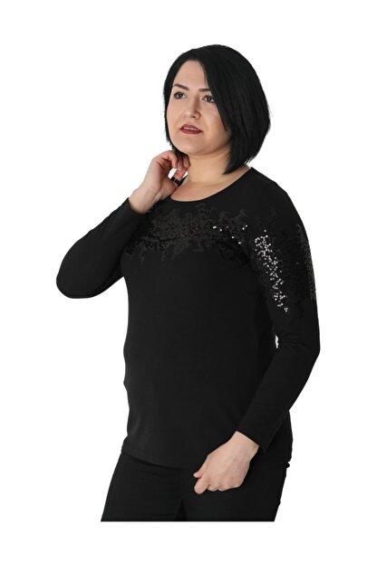 Günay Kadın Bluz Nly1008 Sonbahar Kış O Yaka Pul Detay-sıyah