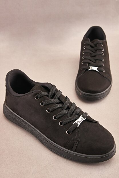 Bambi Siyah Süet Kadın Sneaker K0664320065