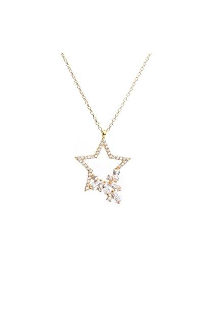 Som Gümüş & Tesbih 925 Ayar Gümüş Baget Taş Tasarım Yıldız Kolye