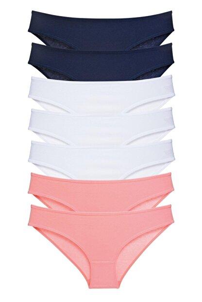 LadyMelex Kadın 7'li Paket Somon Beyaz Lacivert Klasik Slip Külot