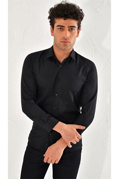 Efor Gk 572 Slim Fit Siyah Klasik Gömlek