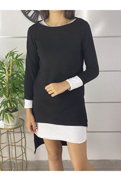 ELBİSENN Yeni Model Kadın Omuz Dekokletli Ikili Takım Elbise (Siyah)