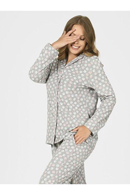 Nbb Önden Düğmeli Patili Kadın Pijama Takımı 67088