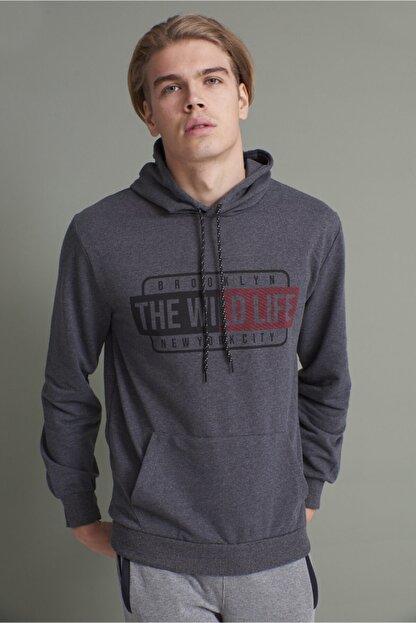 Tena Moda Erkek Antrasit Kapşonlu Kanguru Cepli The Wint Life Baskıl Sweatshirt