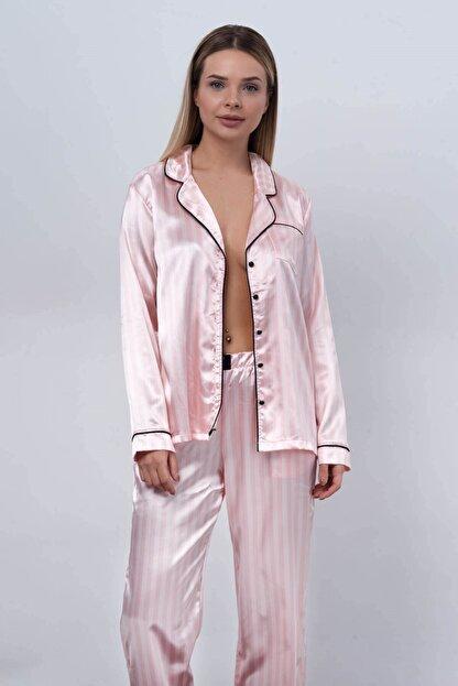 C&City Ruby Bristol Kadın Saten Uzun Kol Gömlek Pantolon Takım Pembe/ekru