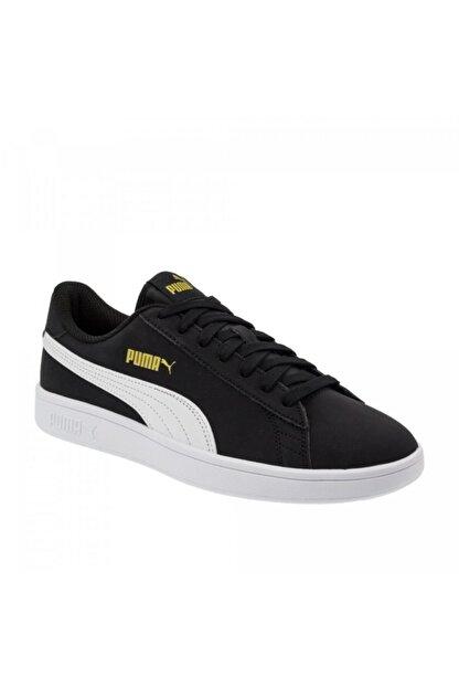 Puma Smash V2 Buck 365160 23 Kadın Erkek Sneaker Ayakkabı Siyah Beyaz 36-40,5