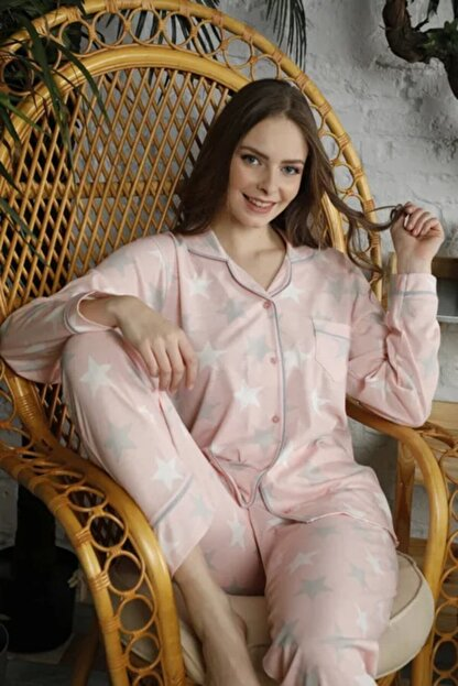 BOYRAZ Pembe Yıldız Desenli Uzun Kollu Pijama Takım