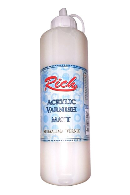 Rich Su Bazlı Vernik Mat (Matt Acrylic Varnish) 500 Cc. Ekonomik Boy