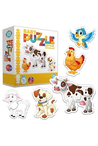 ERKOL OYUNCAK 27 Parça Circle Toys Baby Puzzle Seti 12 Adet Çiftlik Hayvanları