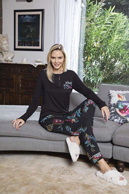 Aydoğan Kadın Poplin Siyah Uzun Kollu Pijama Takımı