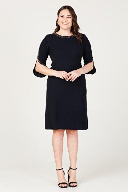 MI Kadın Siyah Uzun Kol Taşlı Elbise 20y..elb.71025.01