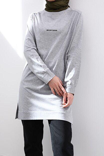 Ekrumoda Kadın Gri Pamuklu Sweatshirt