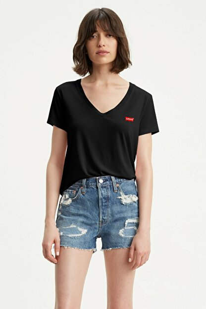 Levi's Perfect Vneck Caviar Siyah Kadın Tişört