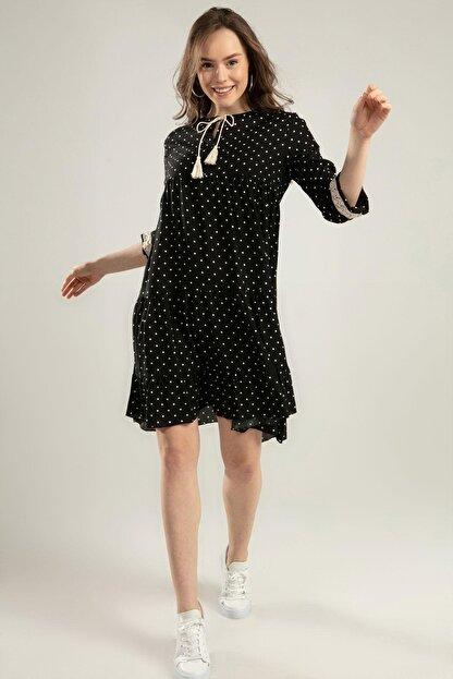 Pattaya Kadın Puantiyeli Dantel Detaylı Elbise Y20s110-1637