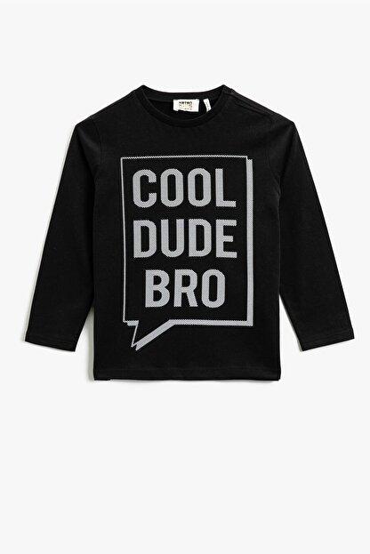Koton Erkek Çocuk Pamuklu Yazılı Baskılı Uzun Kollu T-shirt 1kkb16969ok
