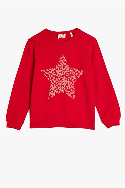 Koton Koton Kız Çocuk Bisiklet Yaka Baskılı Kırmızı Sweatshirt 1kkg17967ok