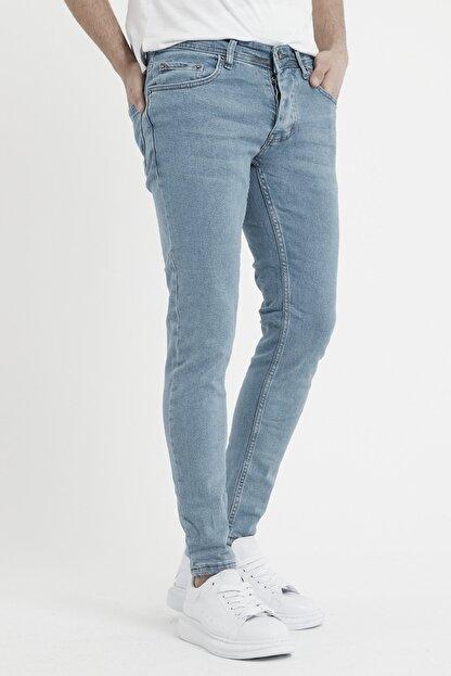MODAMESTO Erkek Açık Mavi Slim Fit Likralı Dar Paça Kot Pantolon