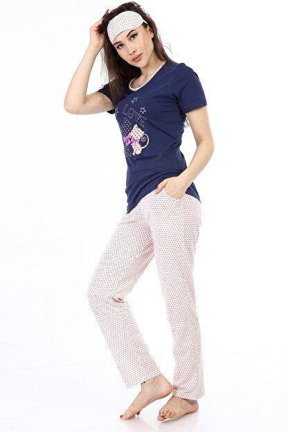 ModaPijama Manolya Kadın Lacivert Pamuklu Puantiyeli Kısa Kollu Pijama Takımı