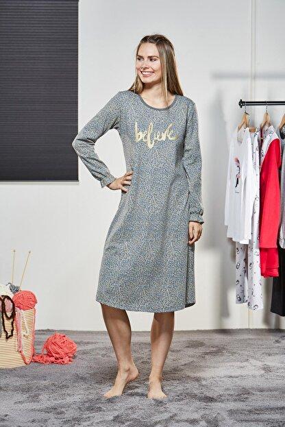 Pjs Pijama Kadın Yuvarlak Yaka Gecelik 21143