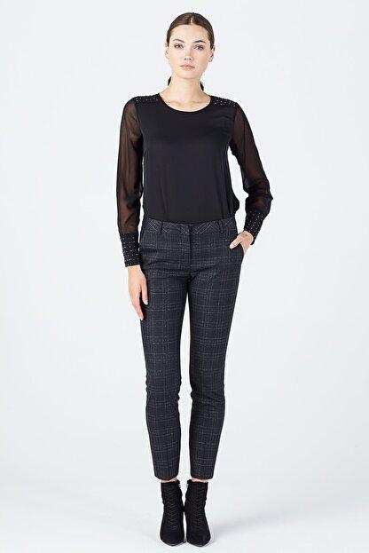 Ekol Kadın Siyah Simli Ekose Pantolon 3057