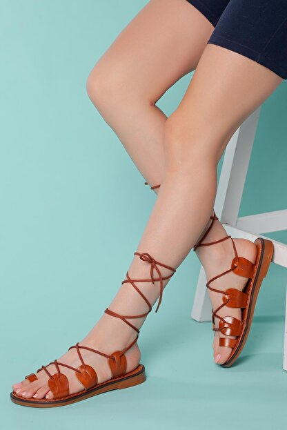 Muggo Kadın Gladyatör Hakiki Deri Sandalet