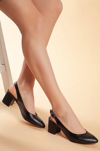 MERVE BAŞ Kadın Siyah Cilt Topuklu Ayakkabı