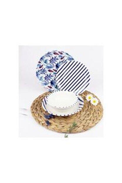 Tulü Porselen Yemek Takımı Mavi Desenli