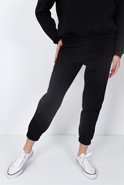 S&B Tekstil Kadın Siyah Paçası Lastikli Eşofman Altı