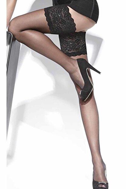 Merry See Kadın Siyah Düz Silikonlu Dantelli Jartiyer Çorap 953916