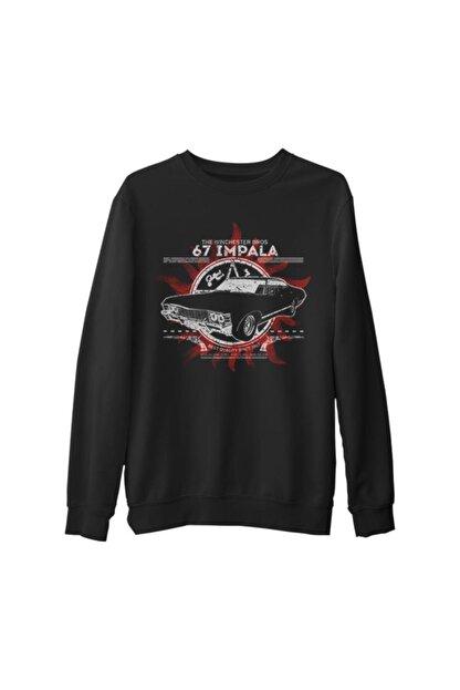 Lord T-Shirt Erkek Siyah Supernatural Kalın Sweatshirt