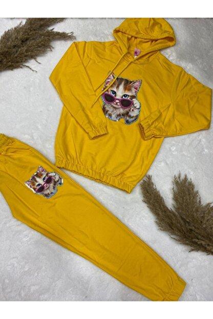 nacar çarşı Kız Çocuk Kedili Pijama Takım