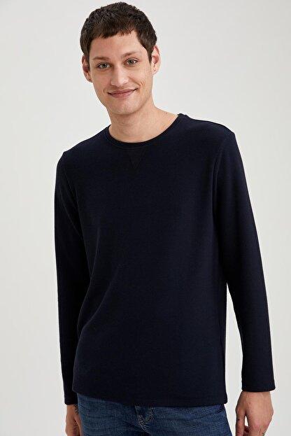 Defacto Uzun Kollu Esnek Dokulu Slim Fit Basic Tişört