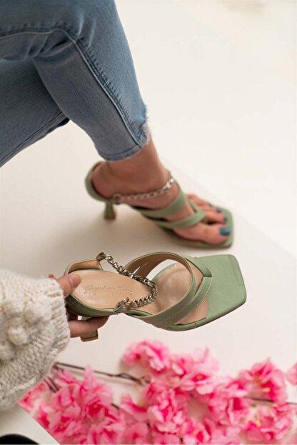 NİŞANTAŞI SHOES Kadın Gillian Yeşil Mat Parmak Arası Bilek Bağlı Topuklu Ayakkabı