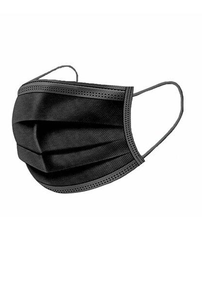 Moda Maske Siyah Renk Ultrasonik 3 Katlı Telli Cerrahi Maske 50 Adet
