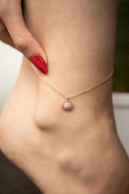 İzla Design Kadın Güneş Model Zirkon Taşlı Rose Kaplama Gümüş Halhal