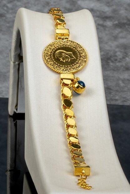 İdeal Sarraf 14 Ayar Kordon 22 Ayar Çeyrekli Nazarlıklı Altın Bileklik