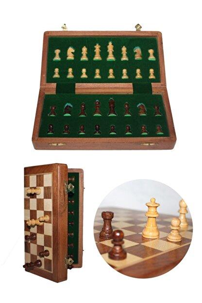 Gezginimport Satranç Oyunu Mıknatıs Taşlı Ahşap Katlanabilir Kutulu Satranç Oyunu 25 Cm