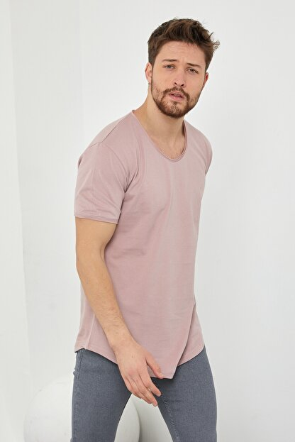 Tarz Cool Erkek Koyu Pudra Pis Yaka Salaş T-shirt-tcps001r58s