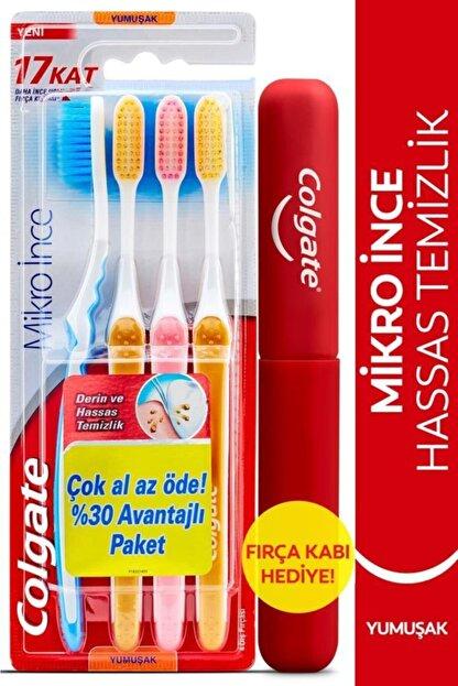 Colgate Mikro Ince Hassas Temizlik Yumuşak Diş Fırçası 4'lü + Diş Fırçası Kabı Hediye