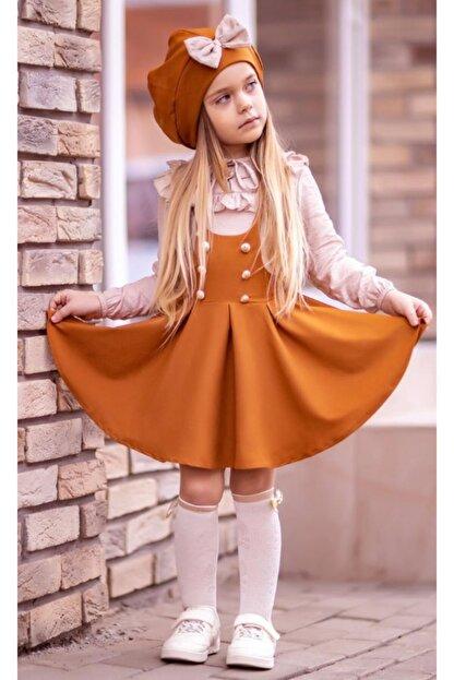 Riccotarz Kız Çocuk Beret Şapkalı Kiremit 4'lü Salopet Takım