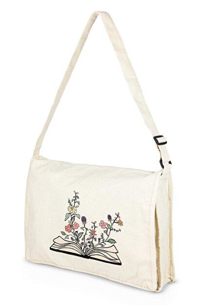 Çınar Bez Çanta Kanvas Postacı Kitap Içinde Çiçekler Bez Çanta