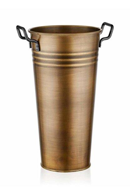 The Mia Galvaniz 50cm Metal Kulplu Vazo Gold Glv0573