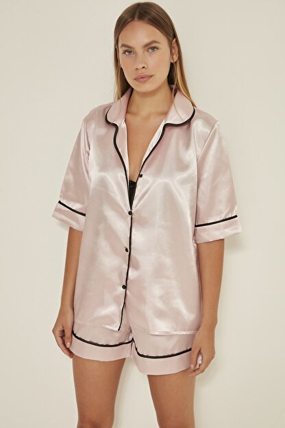 C&City Kadın  Pudra Saten Kısa Kol Şortlu Pijama Takım 040