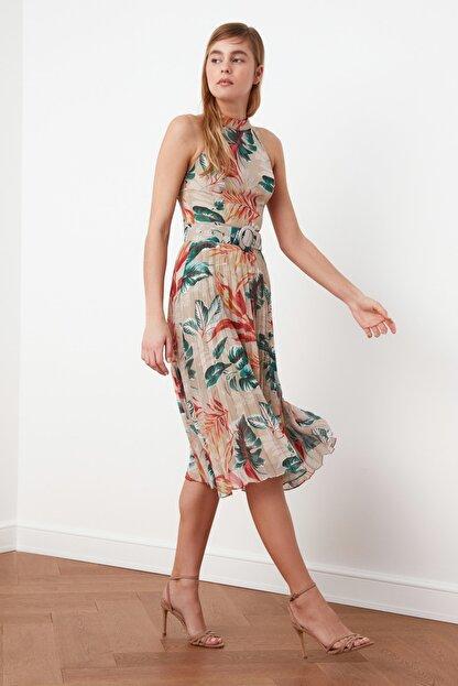 TRENDYOLMİLLA Çok Renkli Kemerli Desenli Elbise TWOSS20EL1341