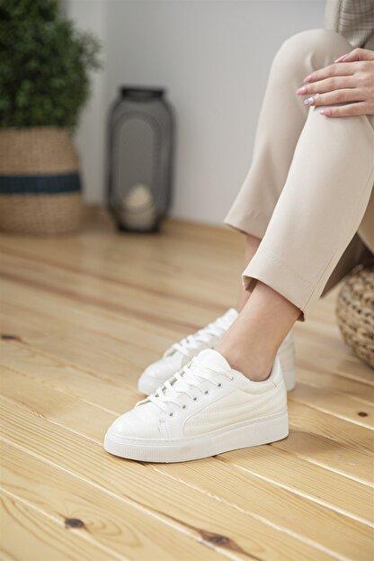 Straswans Kadın Beyaz Rugan Spor Ayakkabı